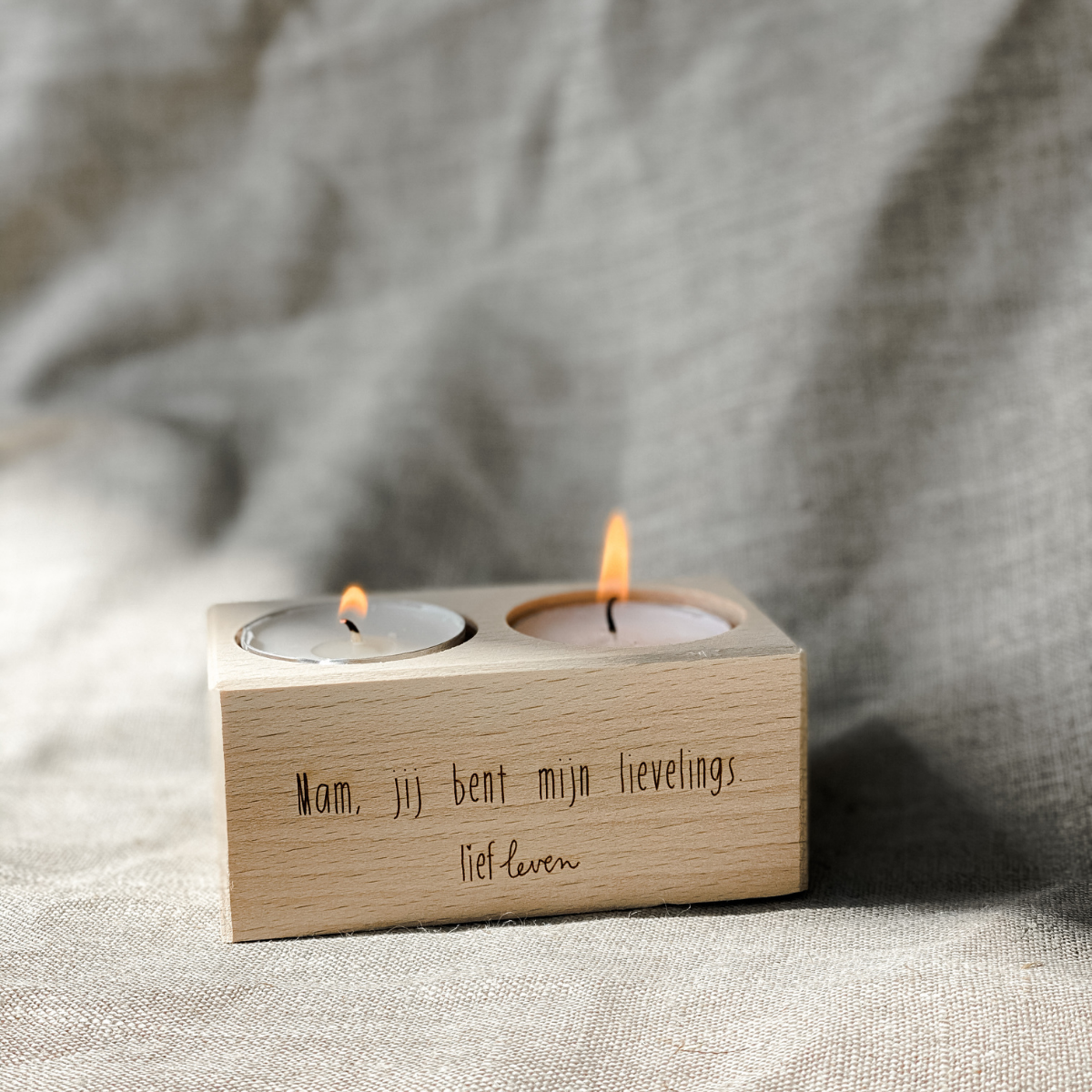 Waxinelichthouder hout • Mama lievelings