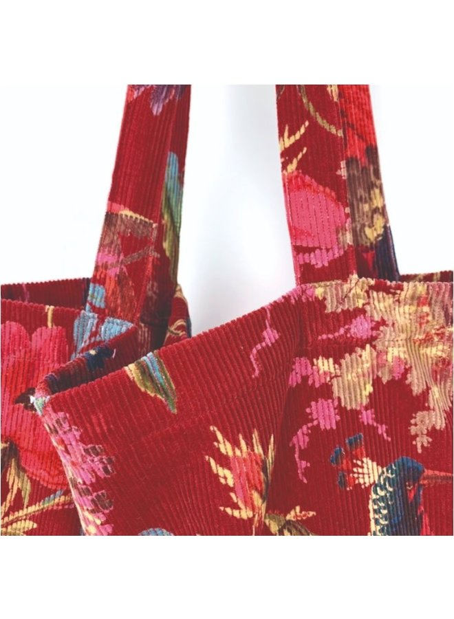 Rode ribfluwelen tas