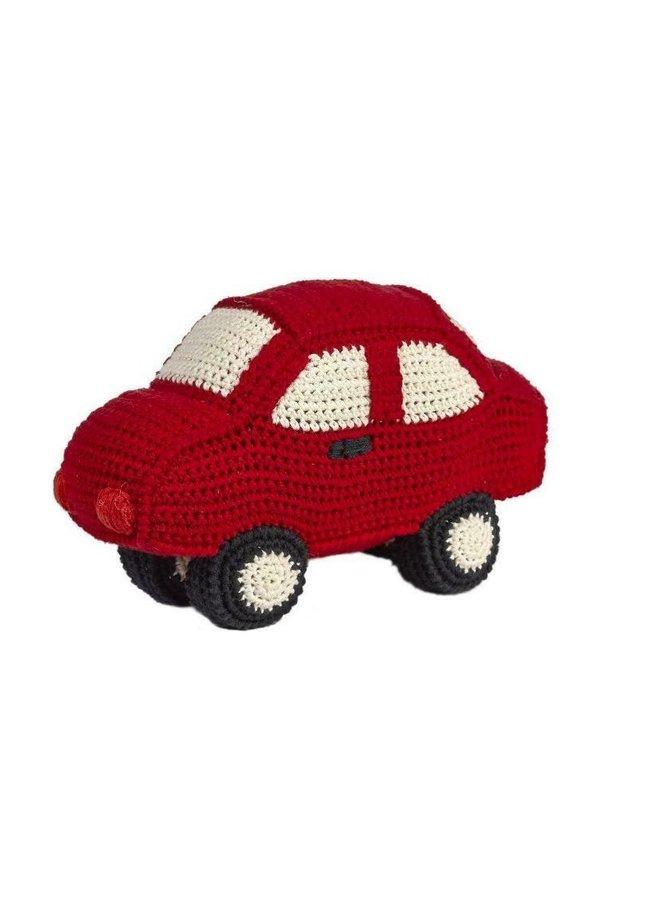 Rode auto gehaakt