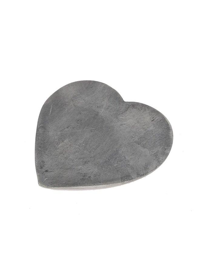 Soap stone heart grijs 15x15x1,5