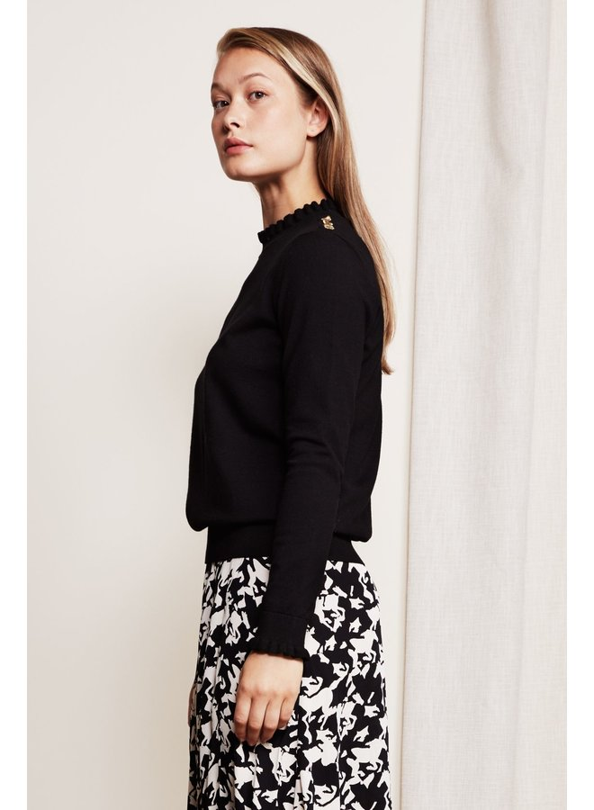 Molly Bow Frill Pullover Black