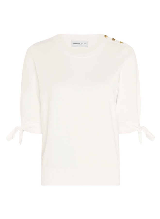 Molly Short Sleeve Pullover Cream White - Fabienne Chapot