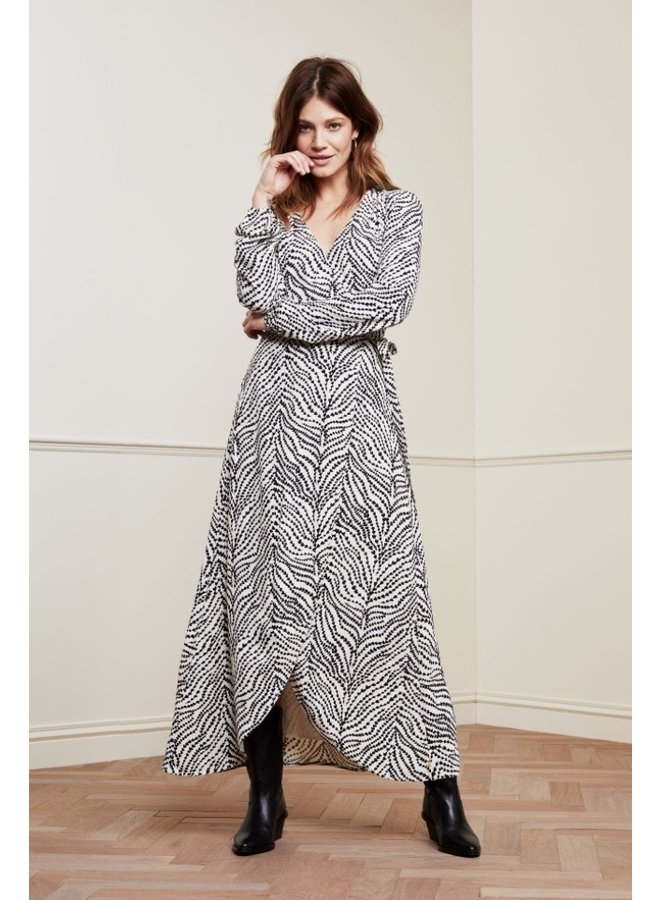 Natasja Dress Cream White/ Black Heart Lines - Fabienne Chapot