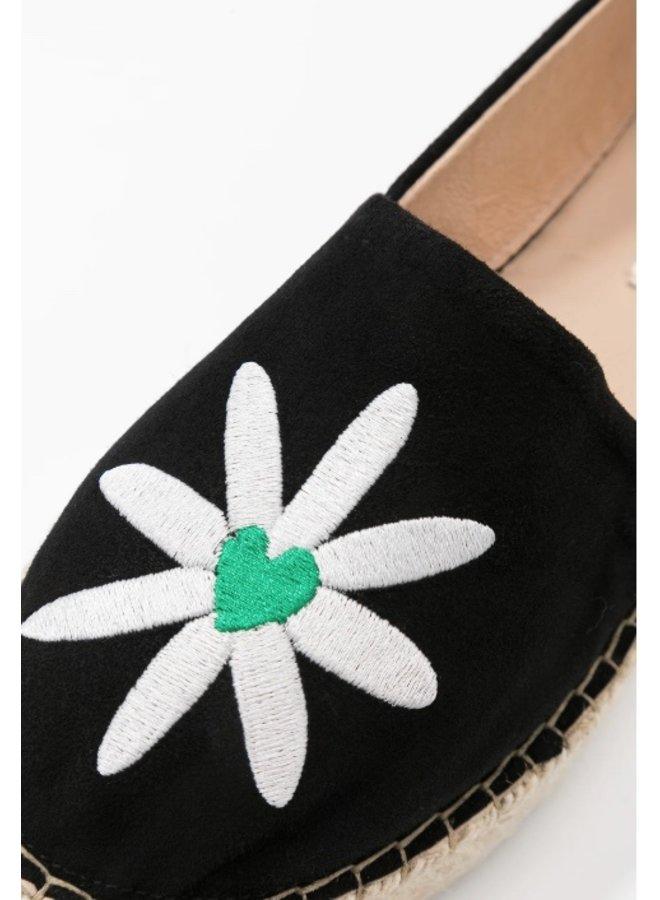 Espadrille suede black/ bean green - Fabienne Chapot