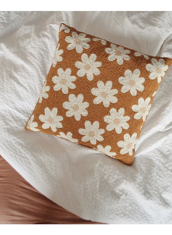 Beads Cushion Daisies Terra - A la Collection