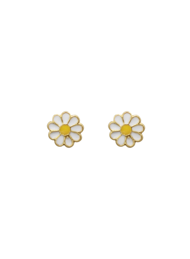 Daisy Pin pair of earrings white - A la Collection