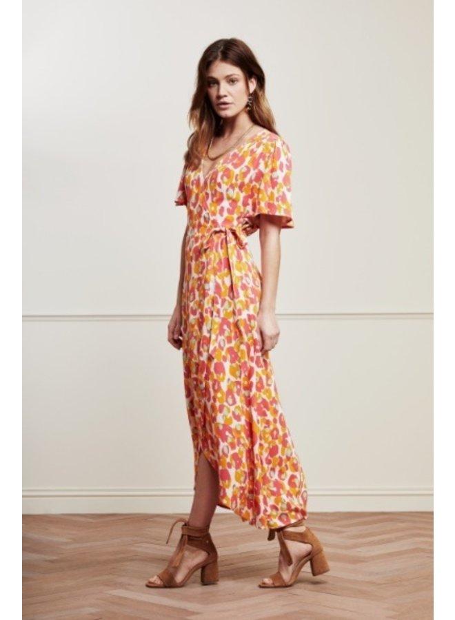 Archana Sleeve Cato Dress Cream White/Powder P Loopy Leopard - Fabienne Chapot