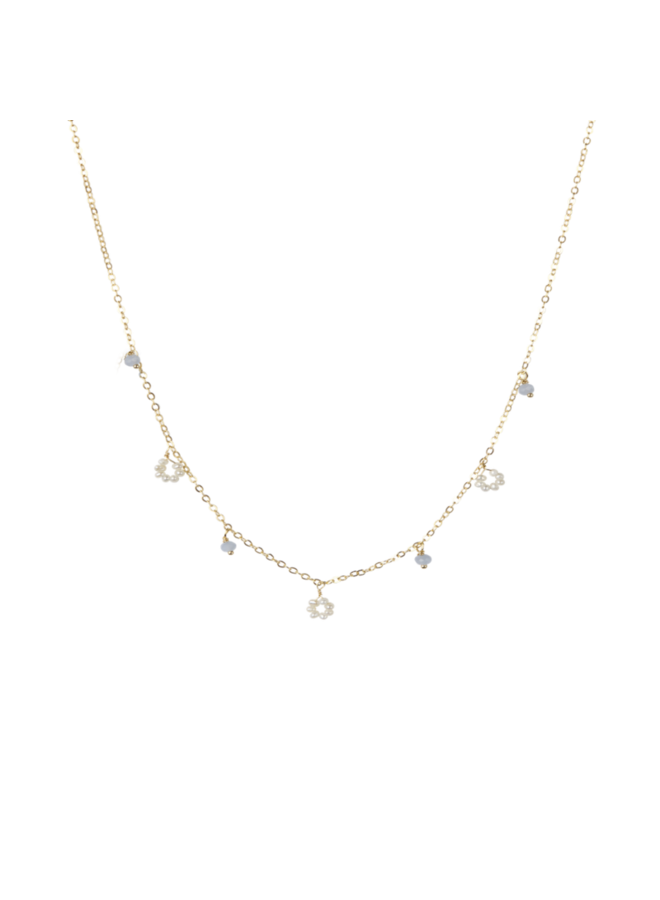 Flower freshwater pearl/ small stones necklace - A la Collection