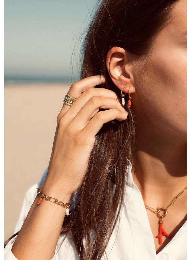 Red Beads earrings 12 mm.  - A la Collection