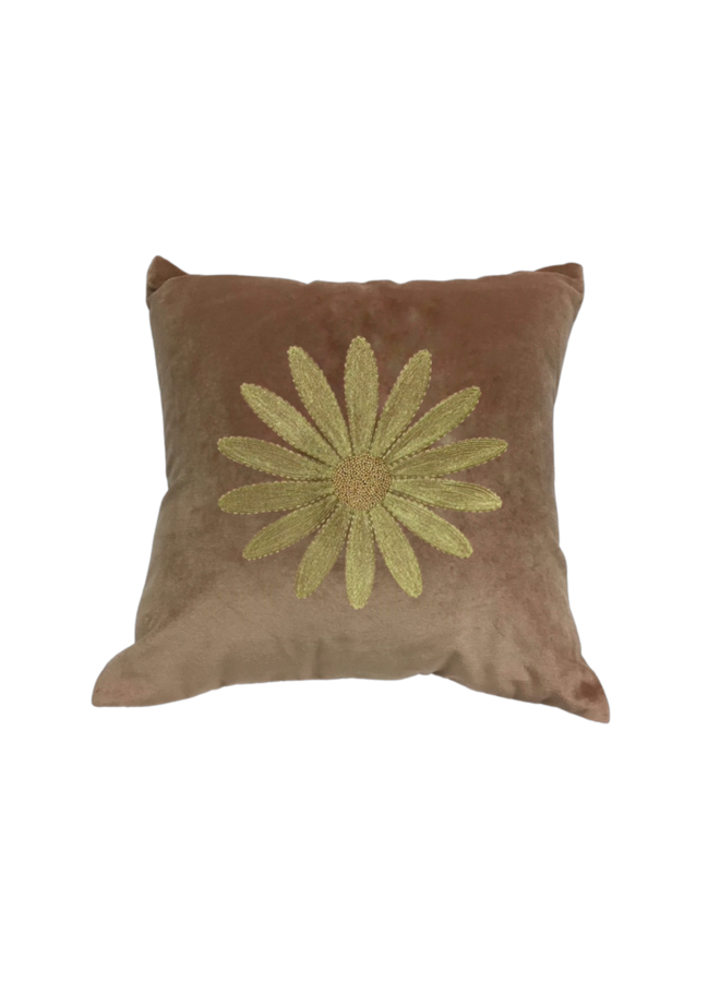 Velvet Cushion Embroidered Daisy - A la Collection