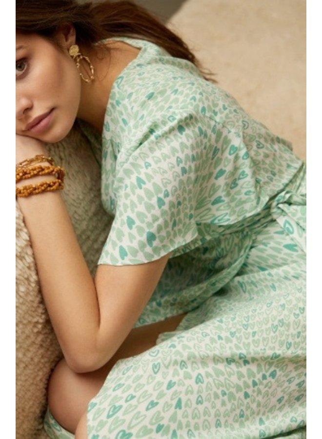 Archana Sleeve Dress Cream White/Sea Green