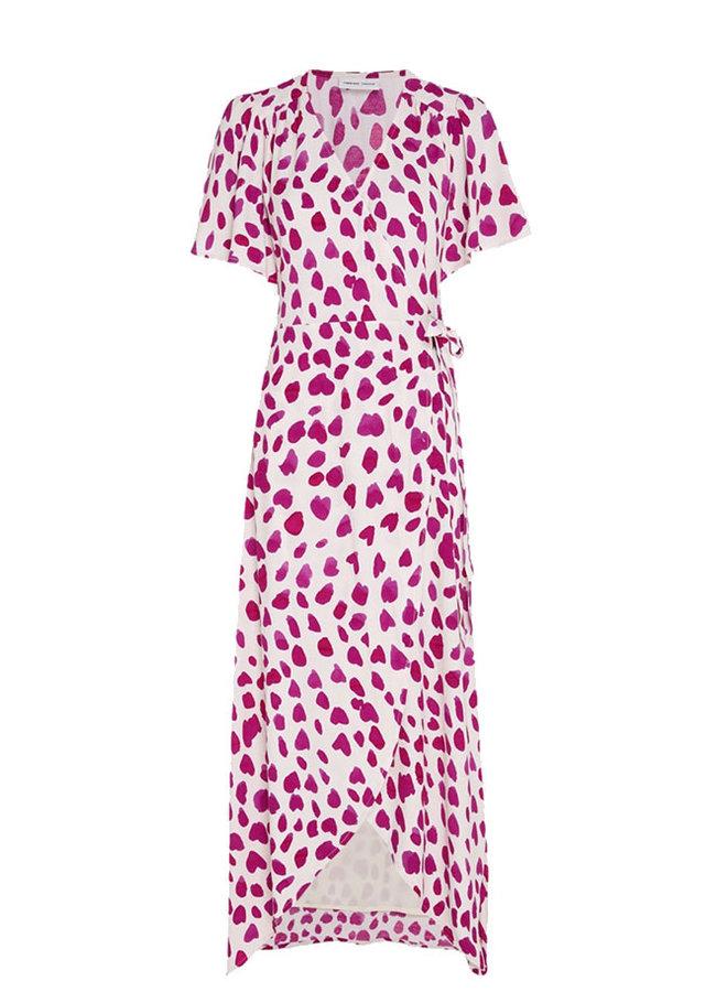 Archana Sleeve Cato Dress Cream White/Cherry Red Happy Leopard