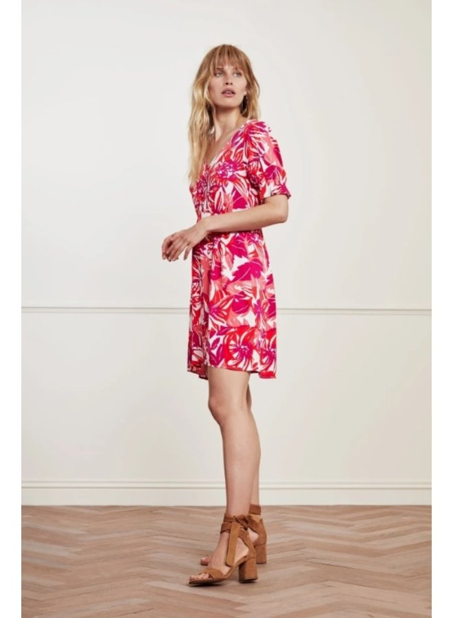 Mona Dress Flaming Red/ Bright Pink - Fabienne Chapot