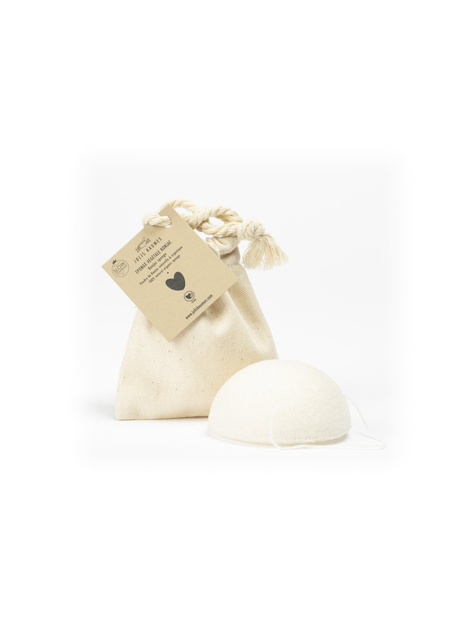 Konjac spons in katoenen zakje (GOTS gecertificeerd)