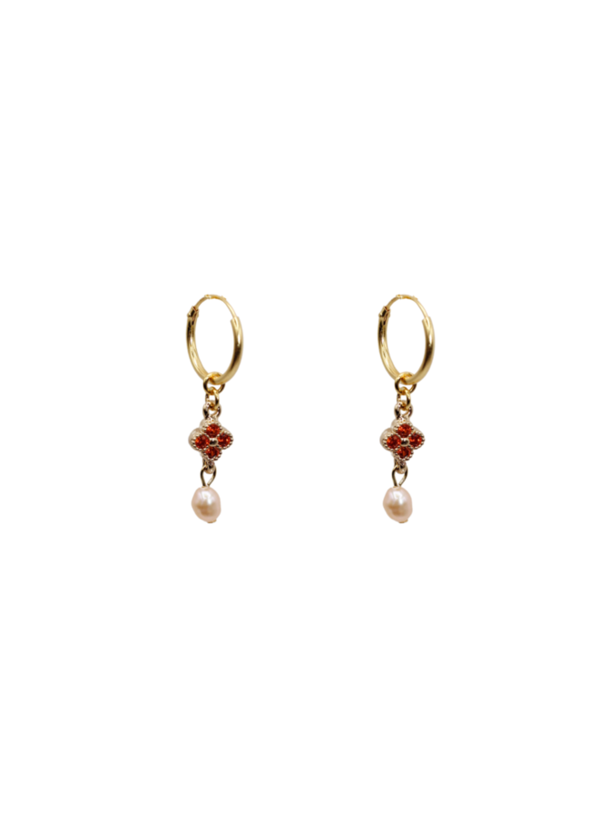 Terra zirconia daisy with pink freshwater pearl pair of earrings - A la Collection