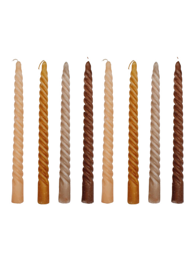Spiral Candles Mixed Earth Colors - set of 4