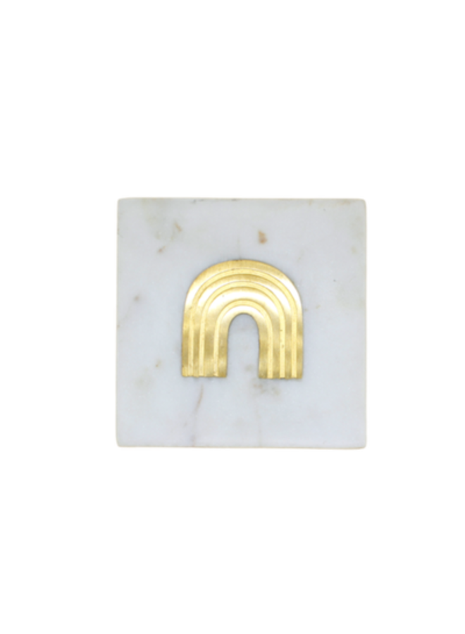 Marble Coaster with Brass Inlay Rainbow - A la Collection
