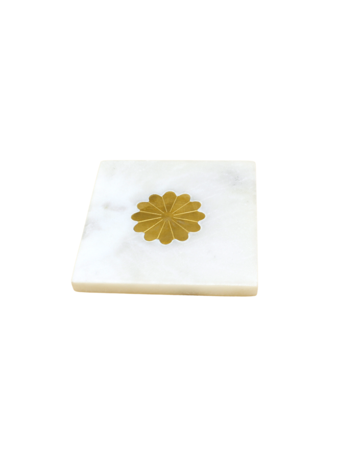 Marble Coaster with Brass Inlay Daisy - A la Collection