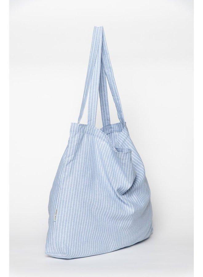 Blue striped linen mom-bag - Studio Noos
