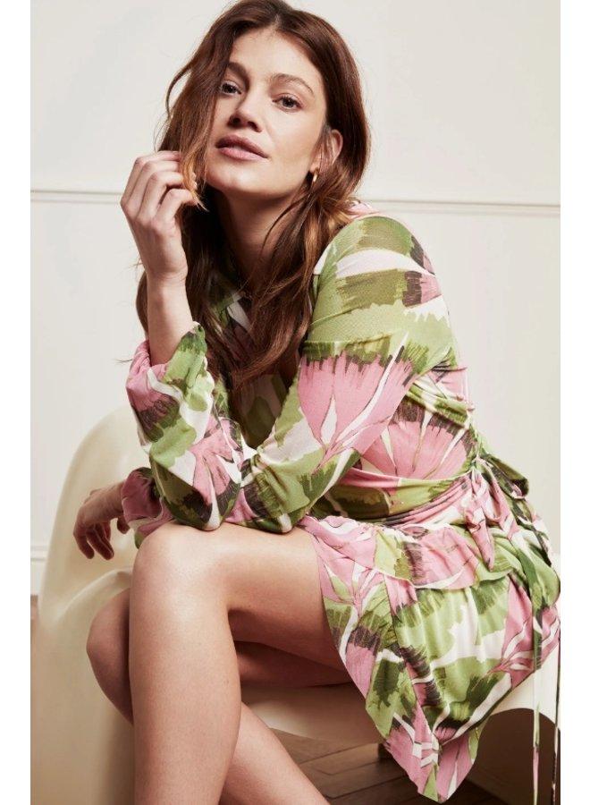 Natasja Frill Short Dress Pistache Trippy Pink - Fabienne Chapot