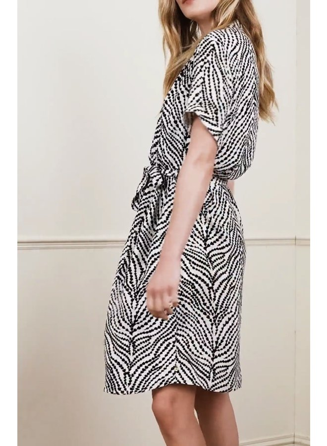 Boyfriend Dress - Cream White/Black - Fabienne Chapot