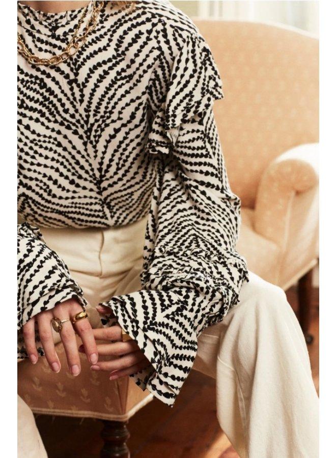 Leo Frill Top Cream White/Black Heart Lines - Fabienne Chapot - SALE