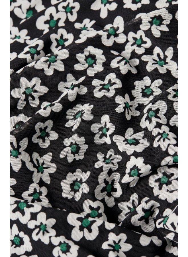 Natasja Frill Dress Black/Emerald Mini Fleopard  - Fabienne Chapot