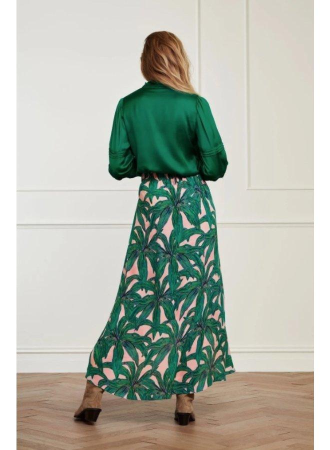 Cora Skirt Lovely Pink/ Emerald La La Leaves - Fabienne Chapot