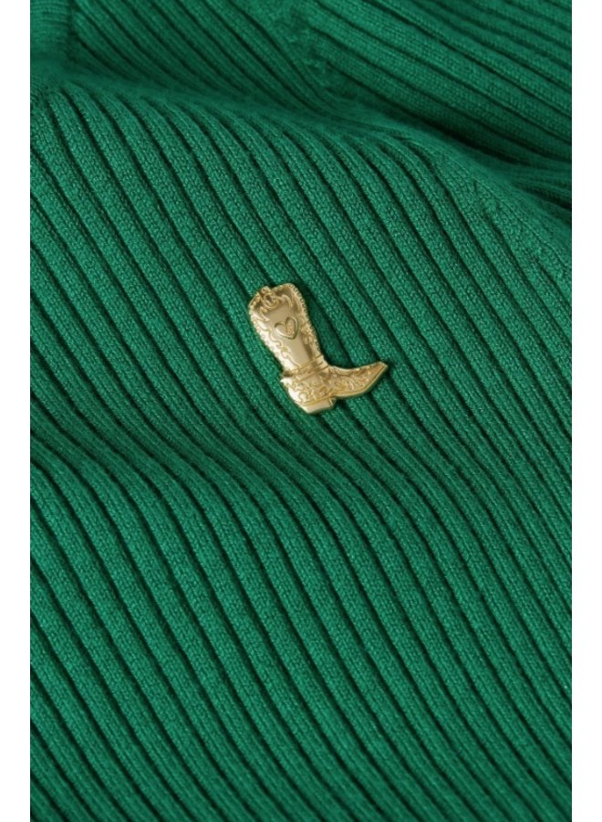 Sanne Short Sleeve Boatneck Pullover Emerald - Fabienne Chapot