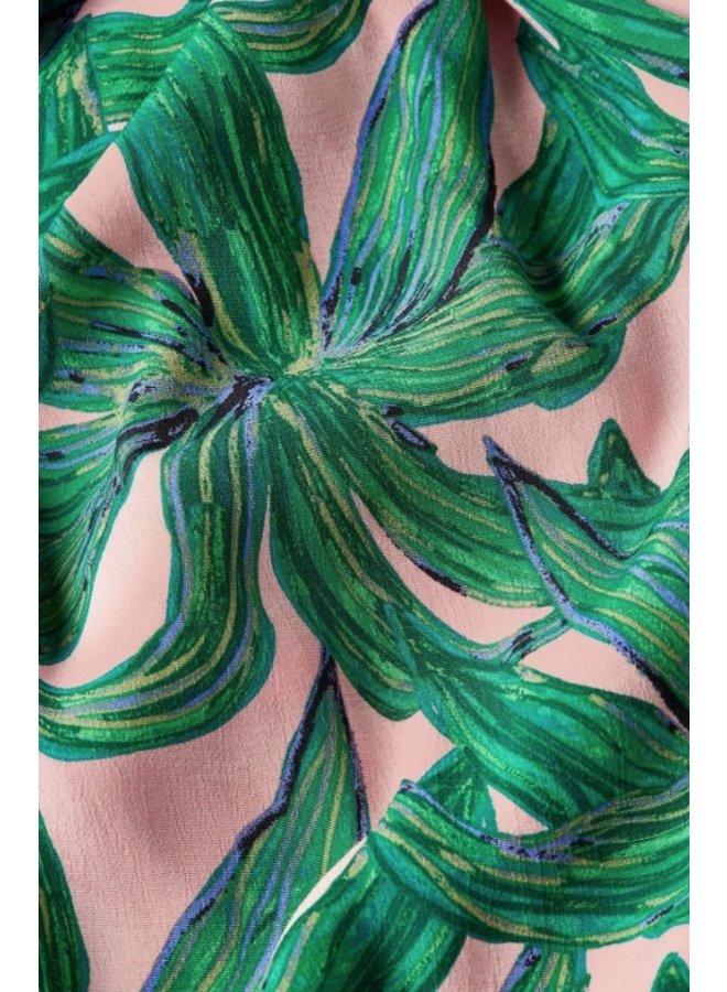 Archana Sleeve Dress Lovely Pink/ Emerald La La Leaves - Fabienne Chapot