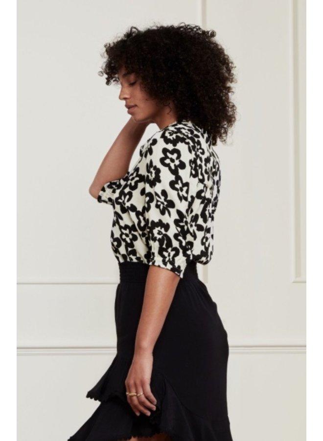 Kim Blouse Cream White/ Black Fleopard - Fabienne Chapot