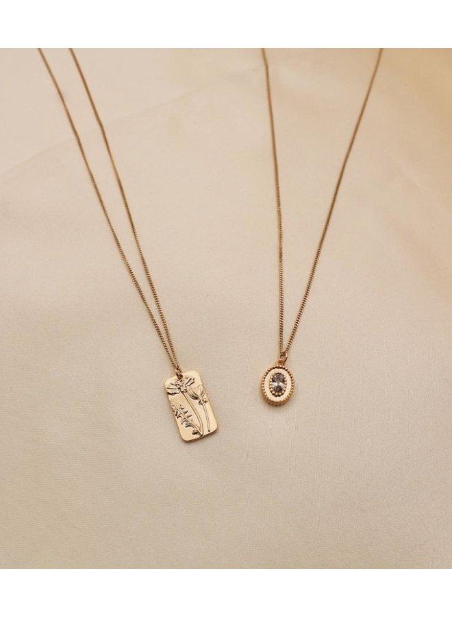 Oval zirconia necklace  - A La Collection
