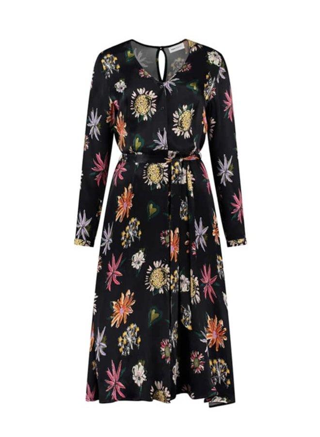 DRESS - Flower Love Black - POM Amsterdam