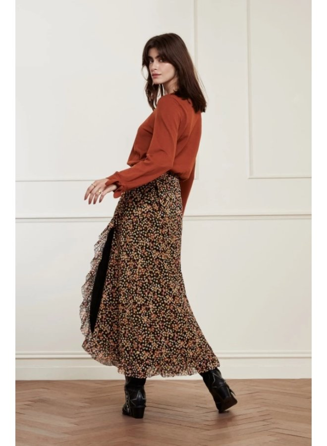 Bobo Frill Skirt Black/Lovely Pink Confetti - Fabienne Chapot
