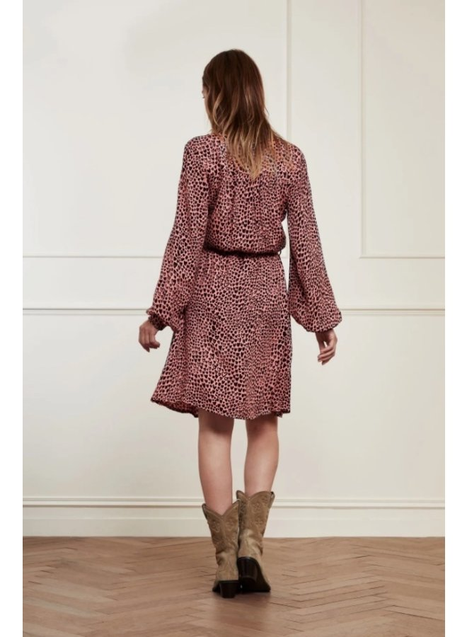 Dorien Frill Dress Lovely Pink/Black Lovely Love Pink - Fabienne Chapot