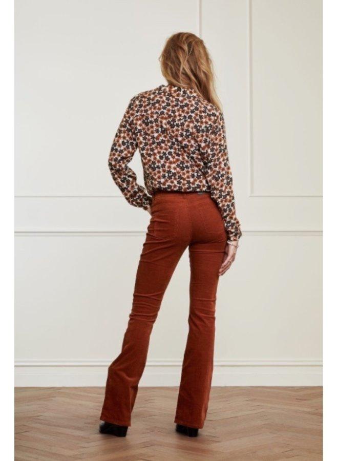 Eva Corduroy Flare Trousers - Cognac - Fabienne Chapot