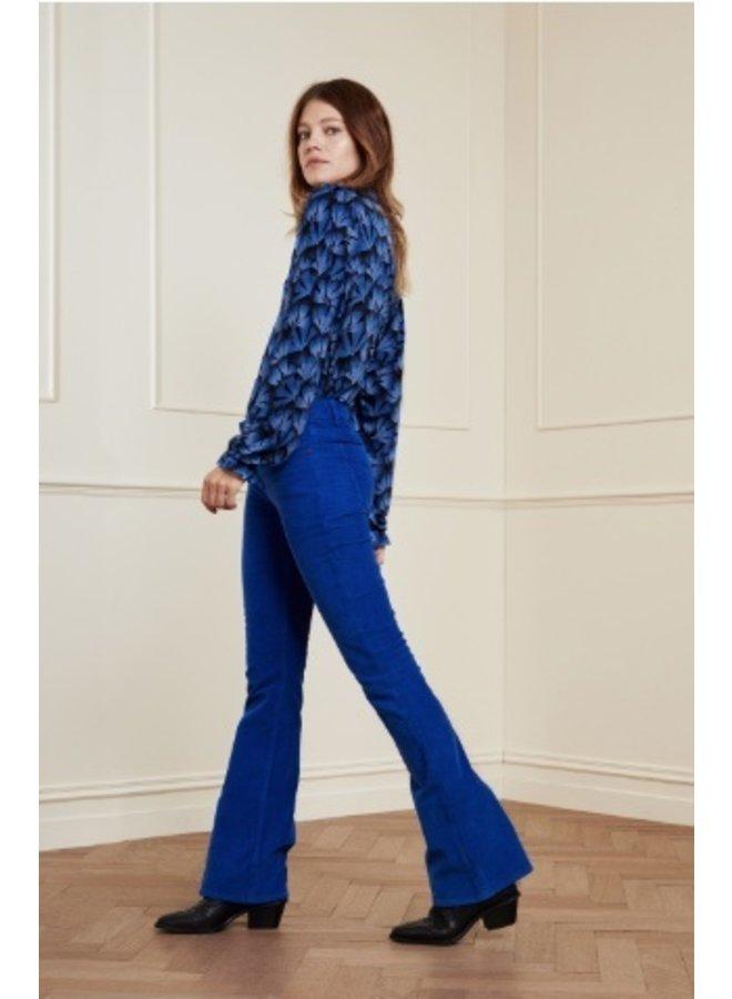 Eva Corduroy Flare Trousers - Cobalt - Fabienne Chapot