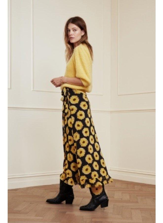 Bobo Frill Skirt Black/ Safron Sunset Flowers - Fabienne Chapot