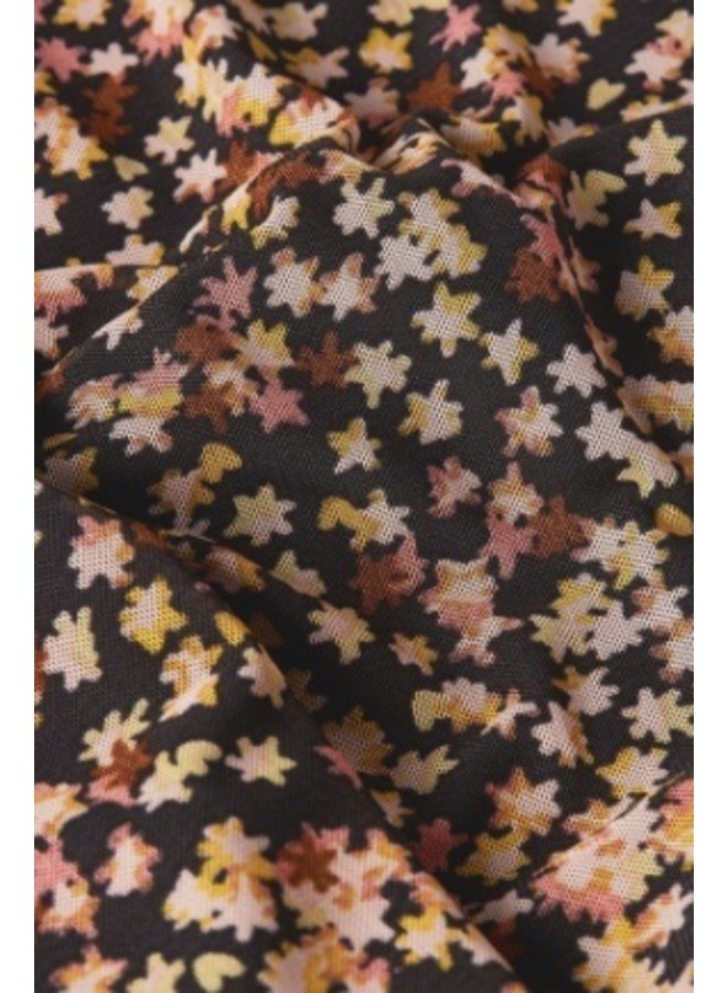 Natasja Frill Dress Black/ Lovely Pink Confetti - Fabienne Chapot