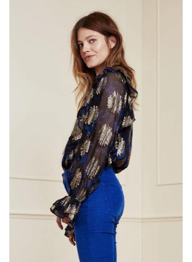 Maxime Festive blouse Black/ Cobalt Midnight Bloom - Fabienne Chapot