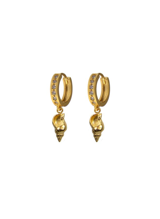 Gold Crystal Conch Hoop Earring