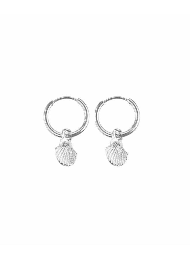 Silver Shell Hoop Earrings