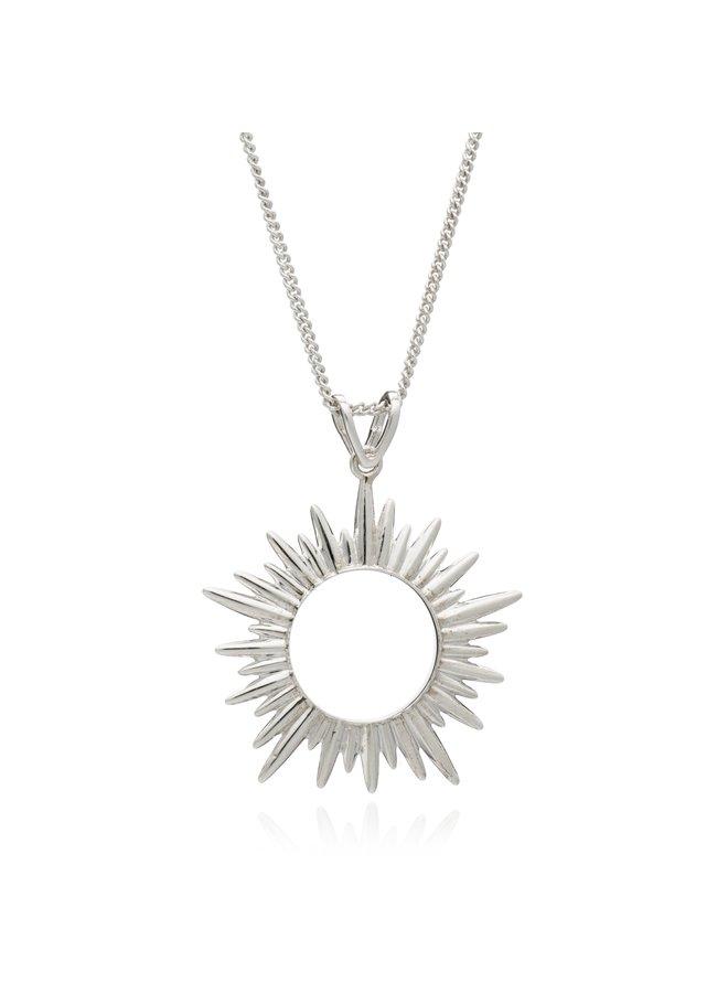 Medium Sun Necklace Silver