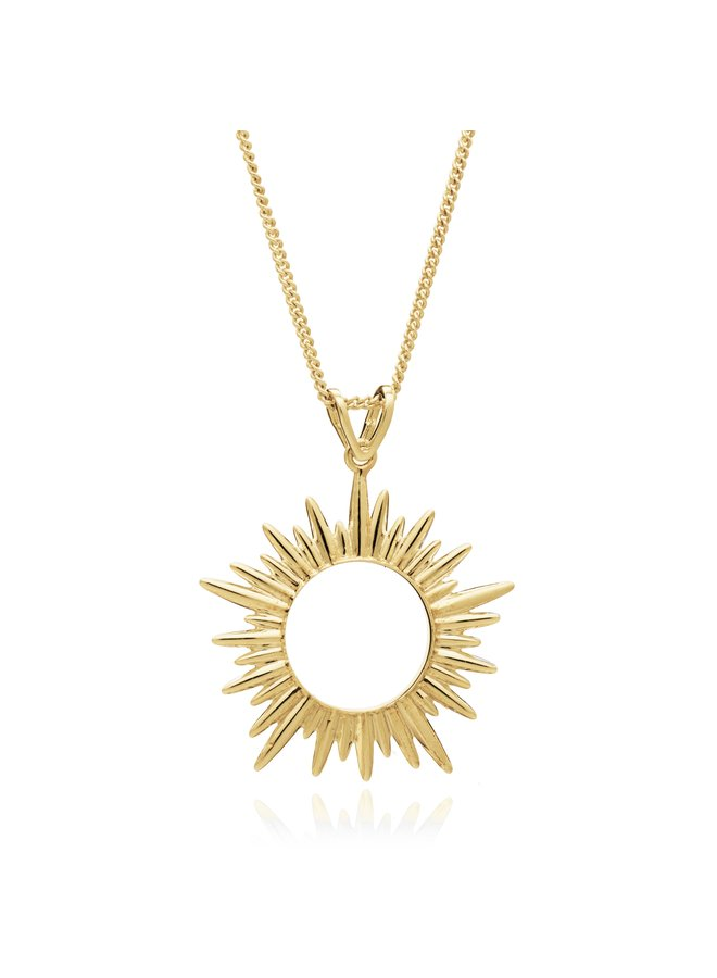 Med Sun Necklace Gold