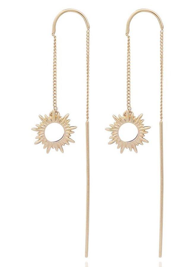 Gold Sun Threader Earring