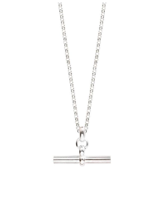80cm Medium Silver T-Bar on Belcher Chain
