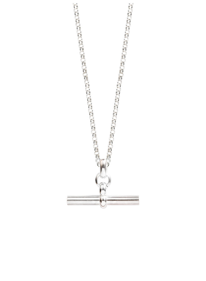 Medium Silver T-Bar on 60cm Belcher Chain