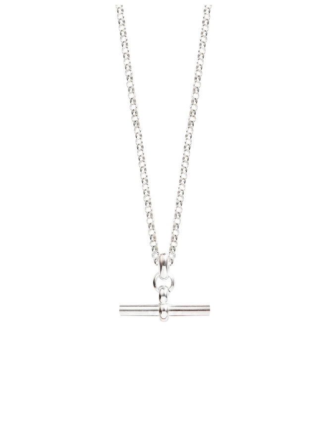Small Silver T-Bar on Belcher Chain
