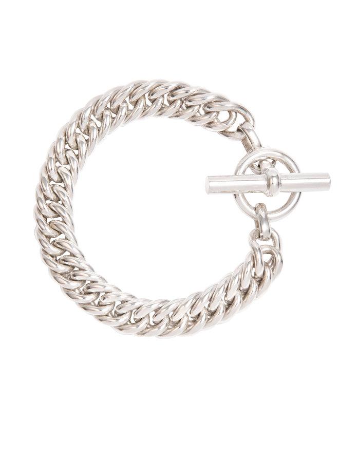 Slim Silver Curb Link Bracelet