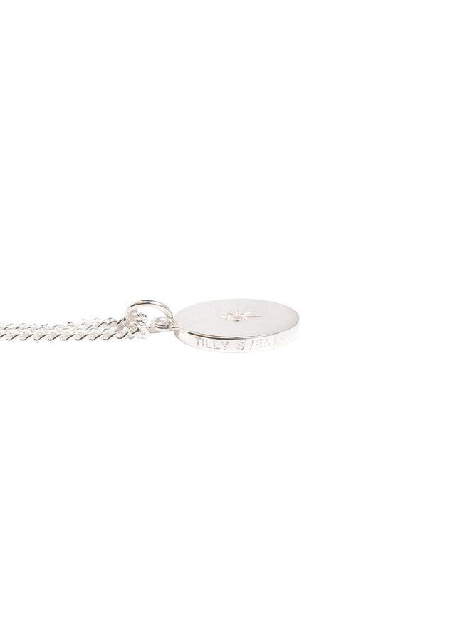 Plain Silver Diamond Disc on Curb Chain